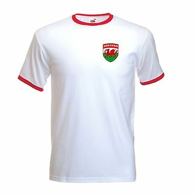 Wrexham FC Football Club Retro Style White football Soccer T-Shirt - All Sizes
