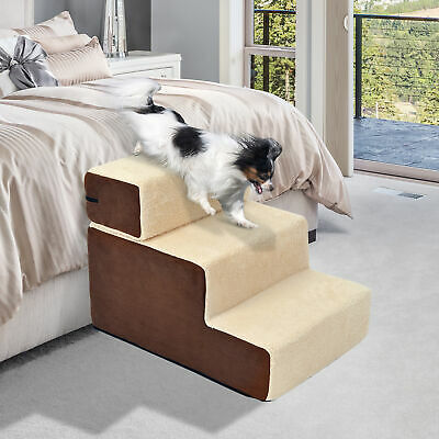 Dog Steps 3 Ladder Soft Stairs Washable Soft Covered Beige Cat Dog Animal Ladder