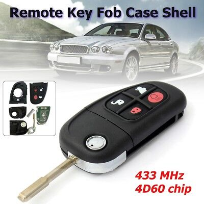 NEW 4 Buttons Remote Key Fob 433MHz Chip Transponder For Jaguar X type S type XJ