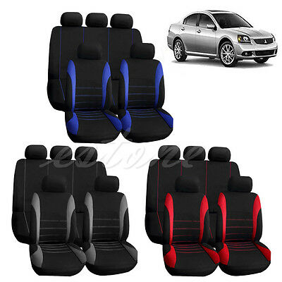 New Car Seat Covers Red Set for Auto w/Steering Wheel/Belt Pad/Head Rests 9 part
