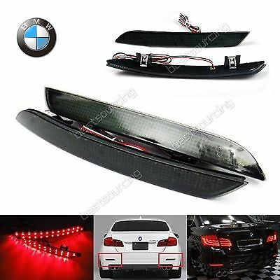2x BMW F10 F11 F18 Black Lens LED Rear Bumper Reflector Brake Reverse Stop Light