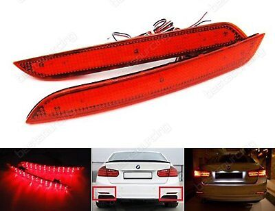 2x BMW 3 4 Series F30 F31 Red Lens Rear Bumper Reflector LED Brake Reverse Light