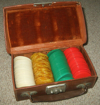 Vintage Celluloid Casino Chips / Gaming Counters In Leather Attache Case