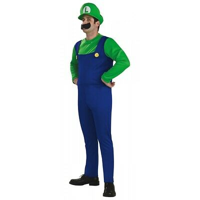 Luigi Costume Adult Mens Super Mario Brothers Bros Halloween Fancy Dress