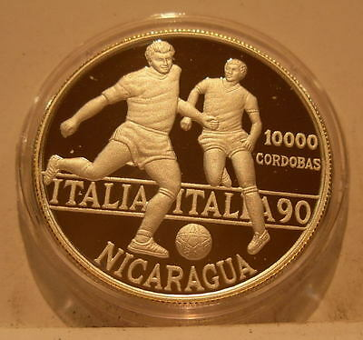 Nicaragua 1990 Silver 10000 Cordobas PROOF Two Soccer Players