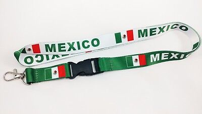 Mexico Flag Reversible Lanyard/keychain, New, Fast Free Shipping