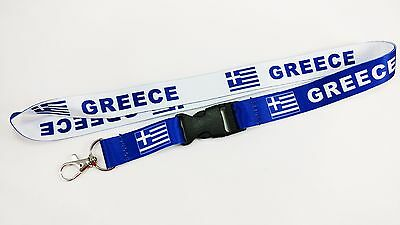 Greece Flag Reversible Lanyard/keychain, New, Free Shipping