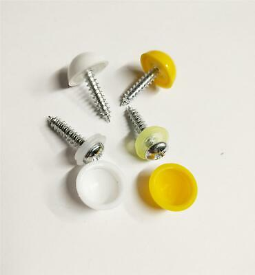 Replacement Number Plate Fitting Kit Screws Domed Caps Covers Yellow White Pair