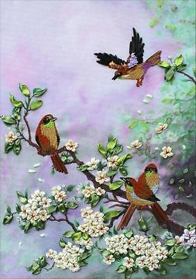 Ribbon Embroidery Kit The chirping of birds and the fragrance of flowers RE3010