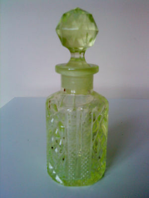 Antique Victorian Yellow  Uranium Glass Perfume / Small Decanter C/w Stopper 5""