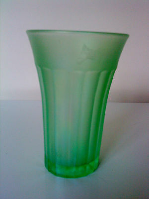 "Antique Art Deco Pressed Frosted Green Uranium Glass Beaker  4 5/8"" Tall"