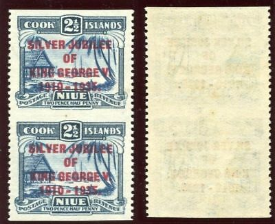 Niue 1935 KGV Silver Jubilee 2½d Imperf Between Vertical Pair MLH. SG 70 var.
