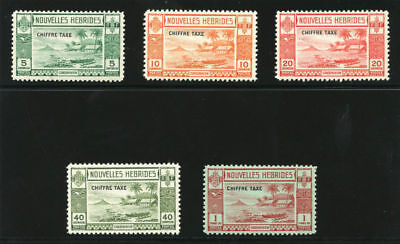 New Hebrides French 1938 KGVI Due set complete Superb MNH. SG FD65-69. Sc J6-1.