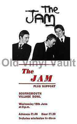 The Jam concert poster Bournemouth Village Bowl 1977 A3 Size Repo