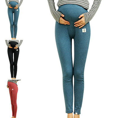 New Women Soft Cotton Belly Leggings Maternity Pants Elastic Over Bump Trousers