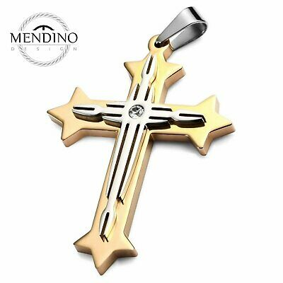 MENDINO Men's 316L Stainless Steel Pendant Chain Necklace Crucifix Cross Gold