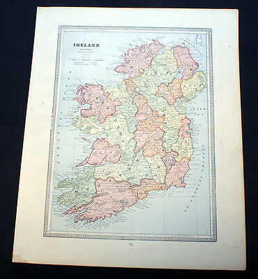 Antique Maps Ireland or Scotland Cram's 1883