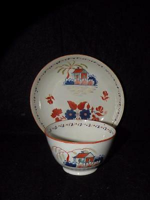 Antique Leeds Machin Pearlware Cup & Saucer Chinoiserie  House Design Rare