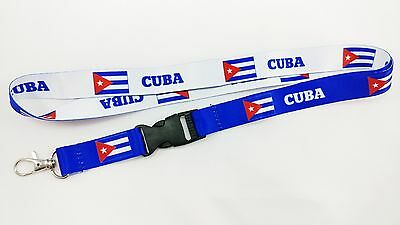 Cuba Flag Reversible Lanyard/keychain, New, Free Shipping