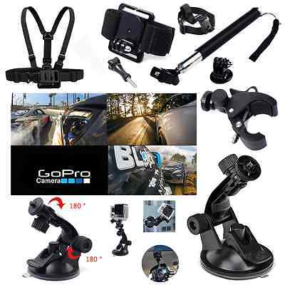 Basic Pole Head Chest Mount Strap GoPro Hero 2 3 4 Camera Accessories Set Kit UK