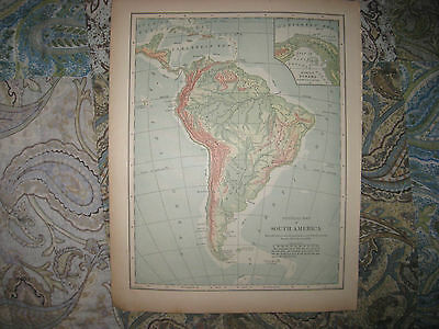 Antique 1901 South America Physical Geology Map Panama Canal Brazil Argentina Nr