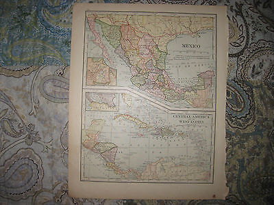Antique 1901 Mexico Central America West Indies Cuba Puerto Rico Caribbean Map N