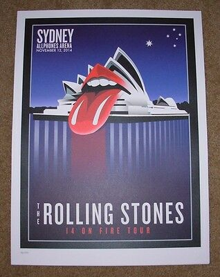 ROLLING STONES concert poster print SYDNEY 11-12-14 2014 Lithograph ON FIRE