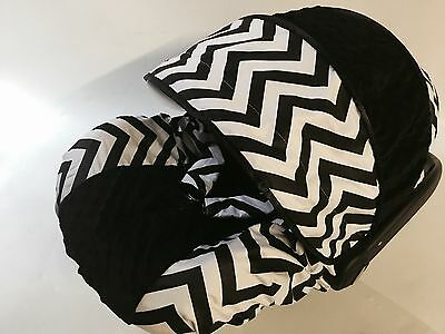 baby BOY black chevron infant car seat cover canopy cover fit most infant seat