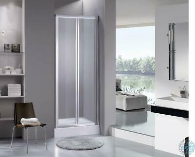 VeeBath Fenwick 800mm Bi fold Chrome Shower Enclosure Sliding Door Screen Glass