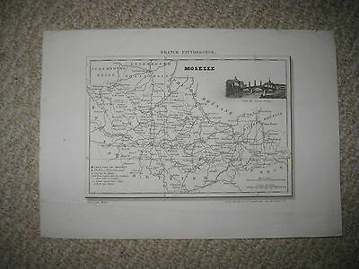 Antique 1835 Moselle Metz France Map W Engraving Wine Food Interest Superb Rare