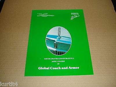 1977 Lincoln Mark V Custom Convertible Global Armour sales brochure folder