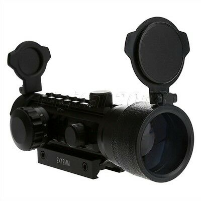Hunting 2x42MM Red Green Dot Scope Sight 11mm / 20mm Weaver Mount Rail For Rifle