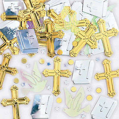 Gold Cross Bible Holy Communion/Christening Table Confetti Decorations Boy Girl