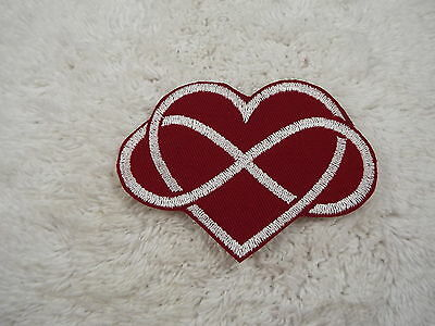 """Red White Infinity Heart 4"""" Embroidery Iron-on Custom Patch (E3)"""