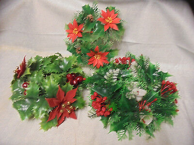 "Plastic Holly Pinecones, Flocked Poinsettia, Bells 3 Wreaths 10""-8"" Across Retro"