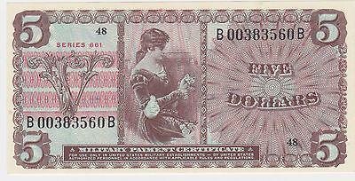 MPC  $5 UNCIRCULATED CRIPS NOTE VIETNAM 661 SERIES , Military Payment