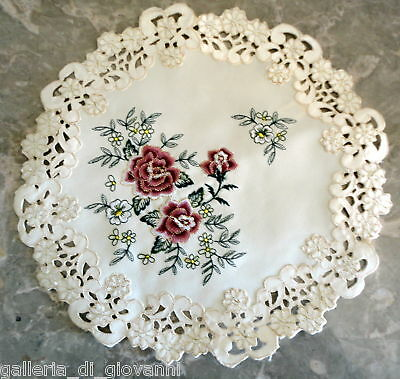 """VICTORIAN ROSE Doily Rose 11""""  Flower Doily Gold Thread Vintage Antique Style"""