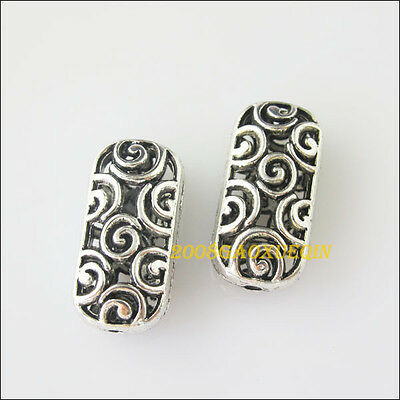 4Pcs Tibetan Silver Oval-Flower Spacer Beads Charms 11x22.5mm