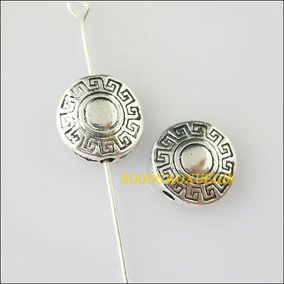 10Pcs Tibetan Silver Flat Round Spacer Beads Charms 10mm