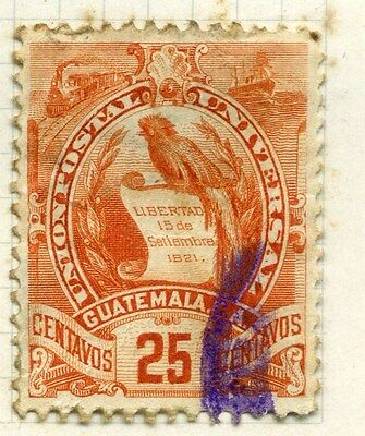 GUATEMALA;  1886 early Arms issue used 25c. value