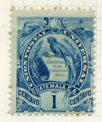 GUATEMALA;  1886 early Arms issue Mint hinged 1c. value