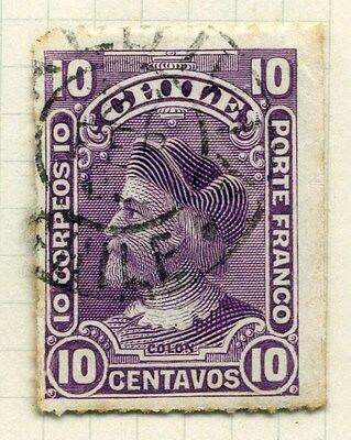 CHILE;  1900 early rouletted Columbus issue used 10c. value