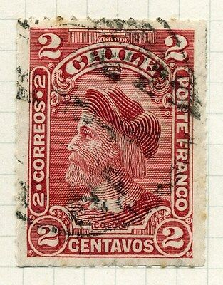 CHILE;  1900 early rouletted Columbus issue used 2c. value