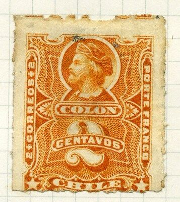 CHILE;  1877 early classic rouletted Columbus issue unused 2c. value