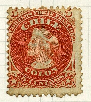 CHILE;  1867 early classic perf Columbus issue used 5c. value