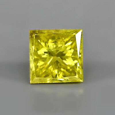 0.12ct  Attraktiver 2.6 mm Fancy Gelber Afrika Diamant mit Prinzess Schliff