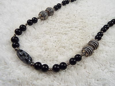 Black Bead Snowflake Obsidian Focal Necklace (D72)
