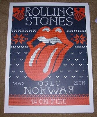 ROLLING STONES concert poster print OSLO 5-26-14 2014 Lithograph ON FIRE