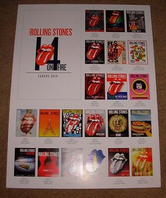 ROLLING STONES concert poster print EUROPE 2014 ON FIRE