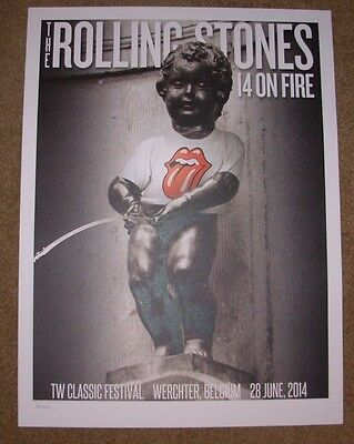 ROLLING STONES concert poster print WERCHTER 6-28-14 2014 Lithograph ON FIRE